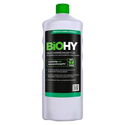 BiOHY Detergente para lavavajillas comercial (1 botella de 1 litro) | Fórmula para disolver el las grasas | Apto para gastronomía, industria y hogares (Geschirrreiniger)