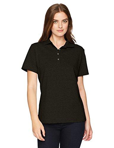 Hanes Women's Pique Polo, Black, Large