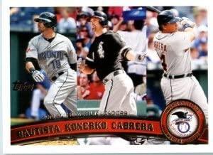 2011 Topps League Leaders A.l. Home Run Leaders Jose Bautista/paul Konerko/miguel Cabrera #202 Baseball Card