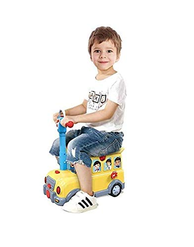 teeny fish 3In1 Kids Ride On Suitcase Luggage Trolley / Role Play Pretend Car Park With Music and Light - Yellow