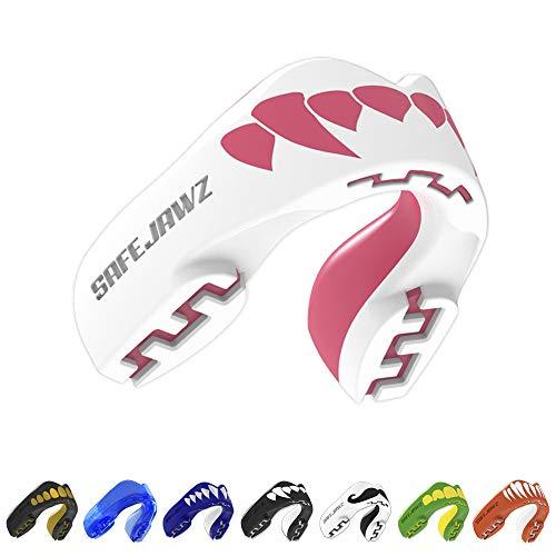 SAFEJAWZ Mundschutz. Extro Serie. Für alle Vollkontakt-Sportarten einschließlich Rugby, MMA, Kampfsport & Boxen. (Rosa Fangz, Erwachsene (12+ Jahre))