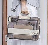 ファイルボックス ファイルケース 紙袋収納ケースドキュメントファイル 書類ホルダー 収納ケース ファイルフォルダー A4 大容量 ハンドバッグ 取っ手付き 事務用品 学生紙袋 教室 オフィス 家庭旅行 (カーキトランスペアレント)