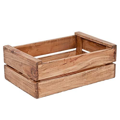 LEBENSwohnART Holzkiste TINI-L Rustic-Teak Obstkiste Weinkiste Kiste Apfelkiste Regal Mahagoni