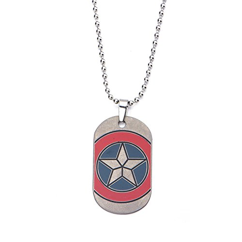 INOX Marvel Captain America Civil War Shield Emblem Dog Tag Stainless Steel Necklace