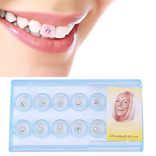 Pongnas 10 Stück Zahnschmuck Edelstein, Klar Zahn Zahn Nagel Dekoration Kristall Edelstein Strass Dekor(Bunt)