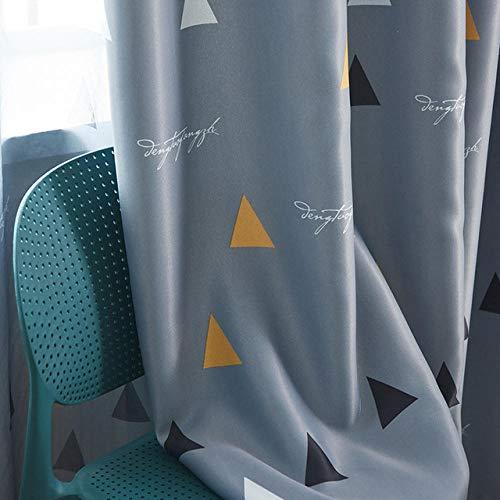 Qutdoor-QJ Geometrische Verdunkelungsvorhänge für Wohnzimmer Kinder Kinder Schlafzimmer Fenster Moderner Verdunkelungsvorhang für Kinder, Ringe-Grau Verdunkelungsvorrichtung B100cm x H120cm