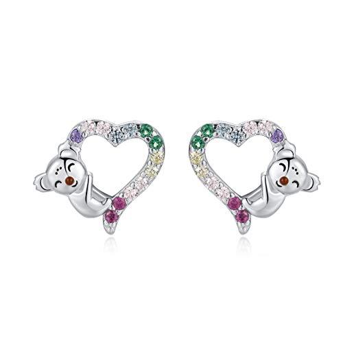 Qings Koala Stud Earrings 925 Sterling Silver - S925 Lovely Koala Animal Small Heart Stud Earrings, Jewelry Gift for Women Girls