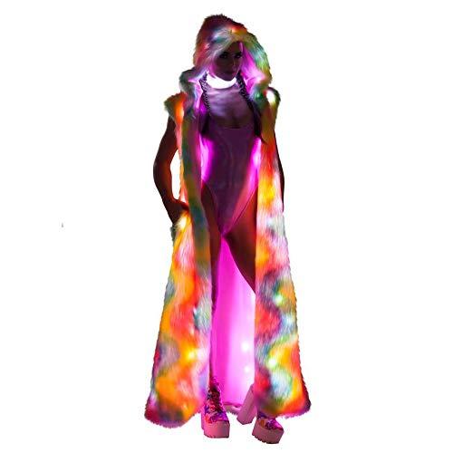LED Frauen Glühend Kleidung -Super Lange LED-Imitation Pelz-Mantel Weste LED glühende Kleidung -Für Bühne Kostüme Nachtclub-Tänzerin Cosplay Kleidung mit LED-Licht,4XL