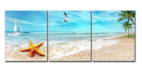 Impresion de Lienzo de Pared Arte Pintura playa arena de paisaje con Palm arboles Golden estrella de mar Sea Gull Flying en el cielo y barco de vela en azul mar 3 piezas Panel