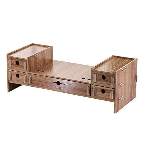 ZHENAO Suministros de Oficina Rack de Madera Desktop Alenamiento Ordenador Multi-Cajas Multi-Cajas para Office Home School Desk Storage Rack Desk Soporte fuerte y robusto/Amarillo