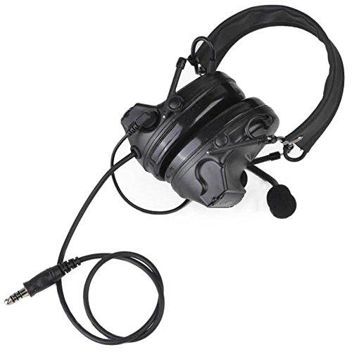 Camouflage-Kopfhörer Comtac II Taktisches Headset Rauschunterdrückung Elektronischer Tonabnehmer Sicherheit Gehörschutz mit Mikrofon, BK, Einheitsgröße