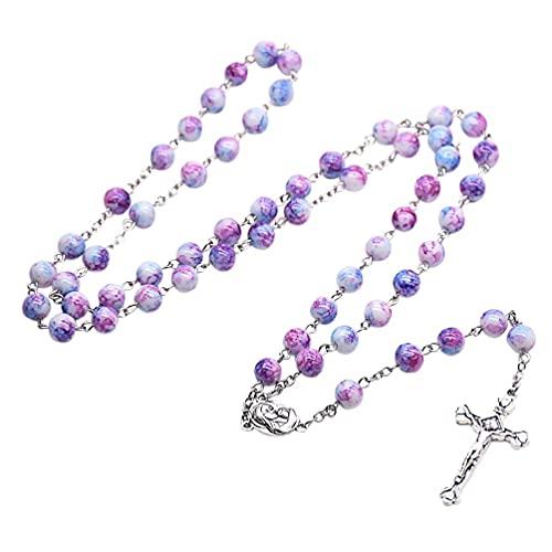 Tuska Collar de rosario hecho a mano con cruz de la Santa Virgen Jesús Crucifijo Cuentas de oración católica religiosa ornamento cristiano oración regalo joyas Cruz Jesús Crucifijo