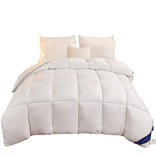 Hahaemall Duvet Queen Size All Seasons Duvet Insert Classic Quilt Hypoallergenic 100% Cotton Shell Down Proof - Classic - Cooling - Duvet Quilt-White_180X220Cm-4000G