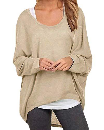 ZANZEA Damen Lose Asymmetrisch Jumper Sweatshirt Pullover Bluse Oberteile Oversize Tops Beige EU 46/Etikettgröße XL