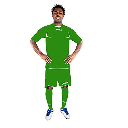 Legea Herren Jungen Fußball Kit Trikot Shirt Short Hosen Klein Armel Hallenfußball Stoccolma Grün/Weiß (XL)