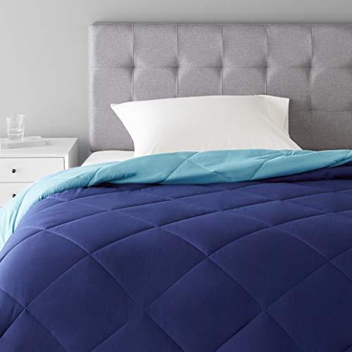 Amazon Basics Reversible Microfiber Comforter Blanket - Twin/Twin XL, Navy / Sky Blue