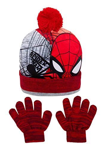 Marvel - Gorro de punto con gorro de Spiderman con guantes para niños, ideal como regalo de Navidad