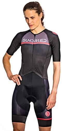 Sundried Womens Pro Trisuit Triatlón de una pieza Aero Ciclismo skinsuit Tri Suit (Negro, S)
