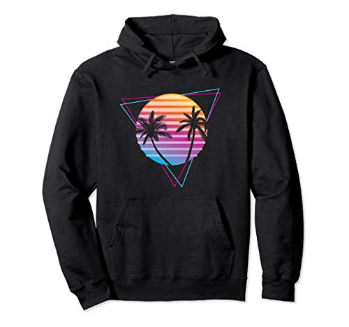 Adults Retrowave Palms and Sunset 80s Vibe Hoodie, 4 Colors, S to 2XL