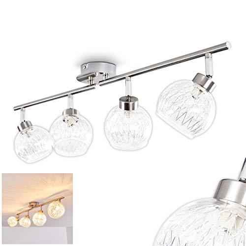 Deckenleuchte Iskuras, Deckenlampe aus Metall in Nickel-matt, 4-flammig mit halbrunden Leuchtenköpfen aus Glas, 4 x G9 max. 40 Watt, die Lampenschirme sind dreh- und schwenkbar