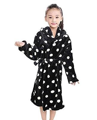 Genda 2Archer Little Girls Polka Dot Flannel Long Bathrobe Sleepwear Nightgown with Hood(4-10Y)