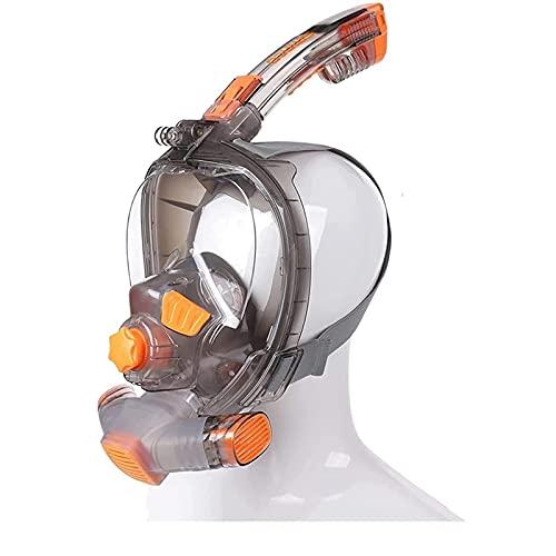 Máscara de snorkel de la cara completa, sistema de respiración gratuito Anti-niebla anti-Fugas de buceo con máscara para jóvenes para jóvenes, último sistema seco Sistema de scuba máscara de buceo