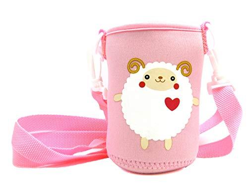 panda family(パンダファミリー) 水筒カバー 水筒ホルダー ペットボトル 缶 ぴったり 伸縮性 肩掛け キッズ 子供用 かわいい キャラクター ピンク Gタイプ(ひつじ桃)