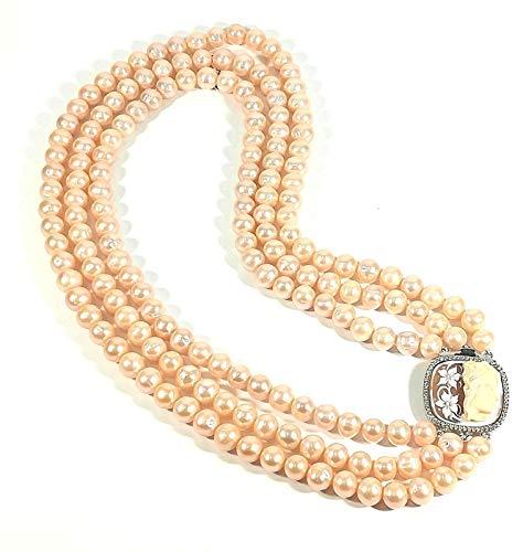 RIVIELLO Collar de 3 hilos degradados plata original 174 perlas rosa plata Rosa Talla única