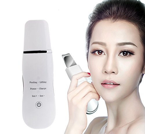 VOUMEY Dispositivo ultrasónico de limpieza de la piel facial Eliminación de la espinilla Máquina de depuración de la pala Exfoliante facial Limpiador Instrumento Limpiador de poros (blanco)