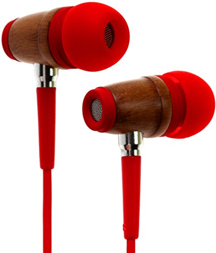 Symphonized Kinder Premium Ohrhörer Lautstärkereguliert Aus Holz Mit Mikrofon Kopfhörer Echtholz (Rot)