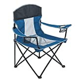 Camping Chair for Adults Heavy Duty 400lb Capacity Mesh Back Portable Quad Arm Chair with Cup Holder Folding Lawn Chair for Backyard Fishing Blue