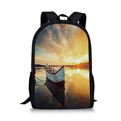 AOOEDM Backpack Lake House Decor Stylish School Bag,Small Boat on Water with Horizon and Overcast Dramatic Sky Harbor Home for Boys,11''L x 5''W x 17''H