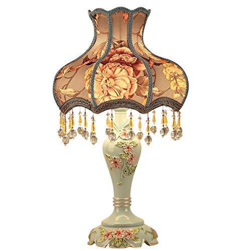 Decoración de muebles Lámparas de mesa Lámpara de mesa Lámpara de escritorio de resina Pantalla de lámpara bordada Lámpara de mesa en relieve Lámpara de cabecera Lámpara de escritorio de estudio (E