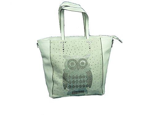 SARA.MODA 771 Owl, große Tasche, Shoppertasche Eule 34x36x12 cm (weiß White)