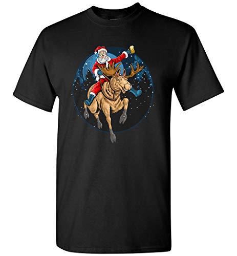 PINK BUTTERFLY Weihnachtsmann auf Hirsch mit Bier T-Shirt Gr. 56, Schwarzes T-Shirt