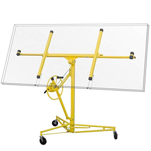 Stark Professional Series 16' ft Drywall Rolling Lift Panel Hoist Jack Caster Construction Dry Wall Lifting w/Caster Wheel, Yellow
