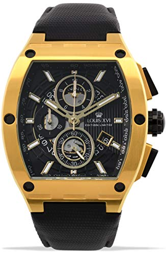 LOUIS XVI Herren-Armbanduhr Noblesse Gold Schwarz Tonneau Chronograph Analog Quarz Edelstahl 1023
