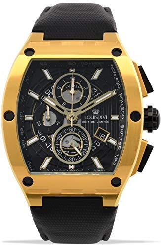 LOUIS XVI Tonneau 1023 Noblesse - Reloj de pulsera para hombre (cronógrafo, analógico, cuarzo, acero inoxidable)