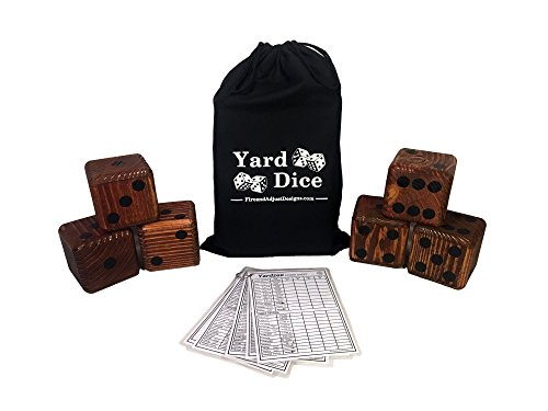 Yard Dice Giant Wooden Yard Game, 6 Solid 3.5  Wood Dice, Storage Bag, optional 5PK 5 x7  Yardzee and Yarkle Dry Erase Score cards, Great for Weddings, family reunions, Backyard BBQs and more