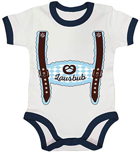 ShirtStreet Wiesn Ringer Strampler Baumwoll Baby Body Kurzarm Jungen Mädchen Oktoberfest - Junge Lederhose Lausbub, Größe: 3-6 Monate,White/Nautical Navy