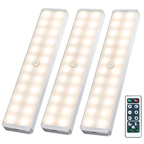 Luz Nocturna con Control Remoto, 24 LEDs USB Regulables Luces para Gabinetes...