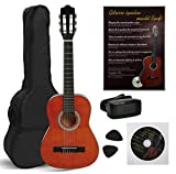 NAVARRA NV11PK Guitarra Clásica STARTER PACK 4/4 honey con bordes negro Incl. Funda con correas tipo mochila y bolsillo para partituras/accesorios, Libro con muchos hit-canciones y CD, Cliptuner pantalla LCD de aguja con iluminación de fondo, 2 Púa