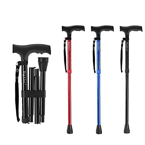 BigAlex Folding Cane,Adjustable Collapsible Cane,Foldable Walking Cane for Men,Women,Lightweight,Adjustable,Portable Hand Walking Stick - Balancing Mobility Aid - Sleek, Comfortable T Handles (Black)
