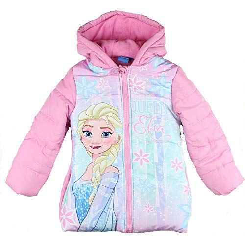 Frozen Die Eiskönigin ELSA Mädchen Winterjacke Mantel Parka gefüttert Kapuze rosa (110)