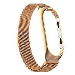 Epaal® Milanese Stainless Steel Magnetic Strap for Xiaomi Mi Band 4 / Mi Band 3 Loop Mesh (Gold),Epaal
