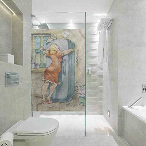 Vinilo 3D protector solar de vidrio calcomanía decorativo para ventana, diseño de mujer gruñida que abraza el nevera, para la empresa, cuarto de baño, puerta de vidrio calcomanía de ventana de 60 cm de ancho x 119 cm de largo.