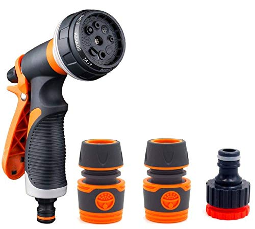 Cookey Multi Spray Watering Gun, 8 Adjustable Patterns Garden Hose Spray Gun, Heavy Duty Metal & Plastic High Pressure Spray Nozzle Perfect for Car Washing, Cleaning, Watering Lawn and Garden