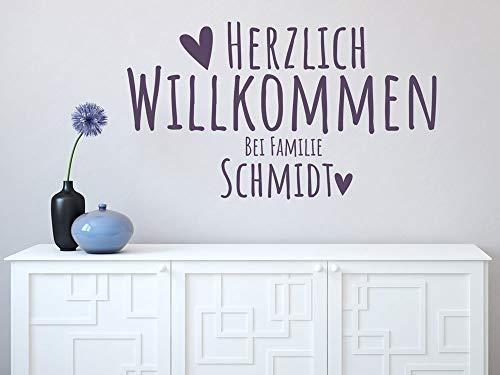 GRAZDesign Wandtattoo Flur personalisiert mit Namen, Wandaufkleber Klebefolie Herzlich Willkommen bei Familie, Wandtattoo Eingang Flur / 70x40cm / 070 schwarz