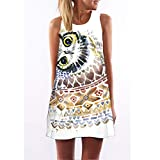 CYPZ Damen Sommerkleid Lässig Ärmelloser Rock Home Nachthemd Persönlichkeit 3D-Druck Eule Süßes Kleid-XL