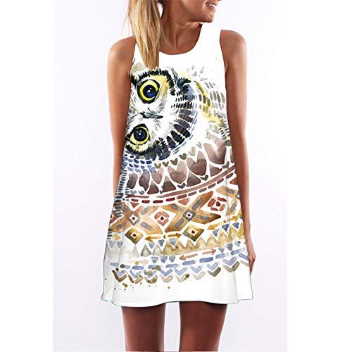 CYPZ Damen Sommerkleid Lässig Ärmelloser Rock Home Nachthemd Persönlichkeit 3D Druck Eule Nettes Kleid-L